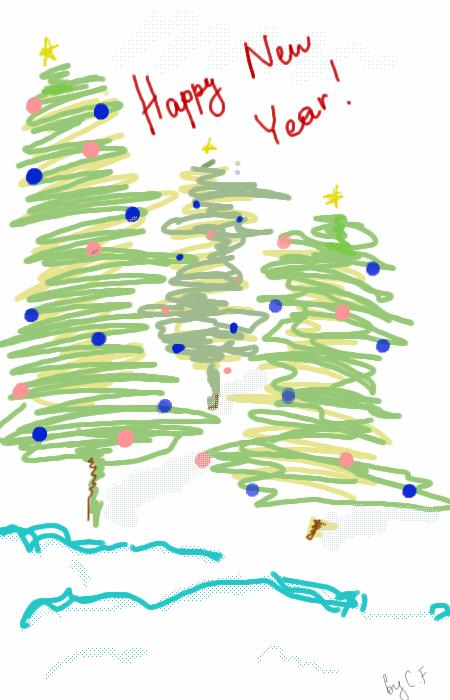 Happy, New, Year,  , Crazy-Frog-kawai, Галерея, набросков, спонтанно, подарочная, открытка, для, самых, дорогих, друзей, рисунок, картинка, picture