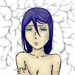 плесень, |, Akuma666, Эскиз, рисунка, плесенька, девочка, синие, волосы, рисунок, картинка, picture