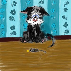 котёнок, и, мышка, |, Anka13, Эскиз, рисунка, Р, S, у, мышки, в, зубах, сыр, рисунок, картинка, picture