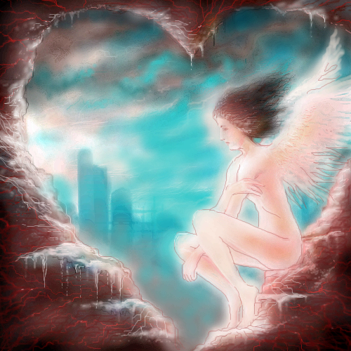 Ангел, в, сердце, города, |, makatuk, Галерея, рисунков, рисунок, картинка, picture