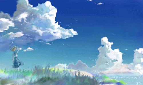 облака, |, jumiau, Галерея, рисунков, да, не, пугает, время+, я, за, него, сделала, только, это, с, Макото, рисунок, картинка, picture